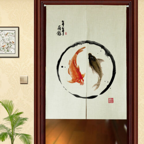 Japanese Decor Curtains Noren Door Tapestry Chinese Floral Doorway Room Divider