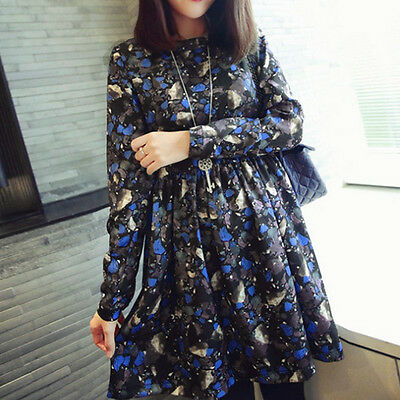New Loose Maternity Clothing Printing Long Sleeve Dress Pregnant Women Dress