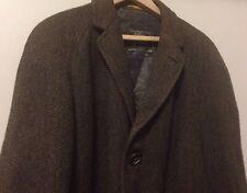 Vintage Burberrys Burberry London Brown Cusha Tweed Wool Mens Long Coat 37 R
