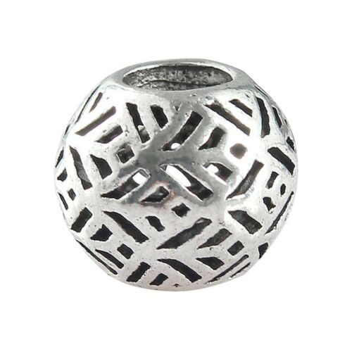 10PC Tibetan Silver Big Hole beads Loose Spacer Pour À faire soi-même European Charm Bracelet