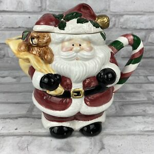 Jay Imports Ceramic Santa Toy Bag Tea Pot 1997 Christmas Holiday Teddy Bear