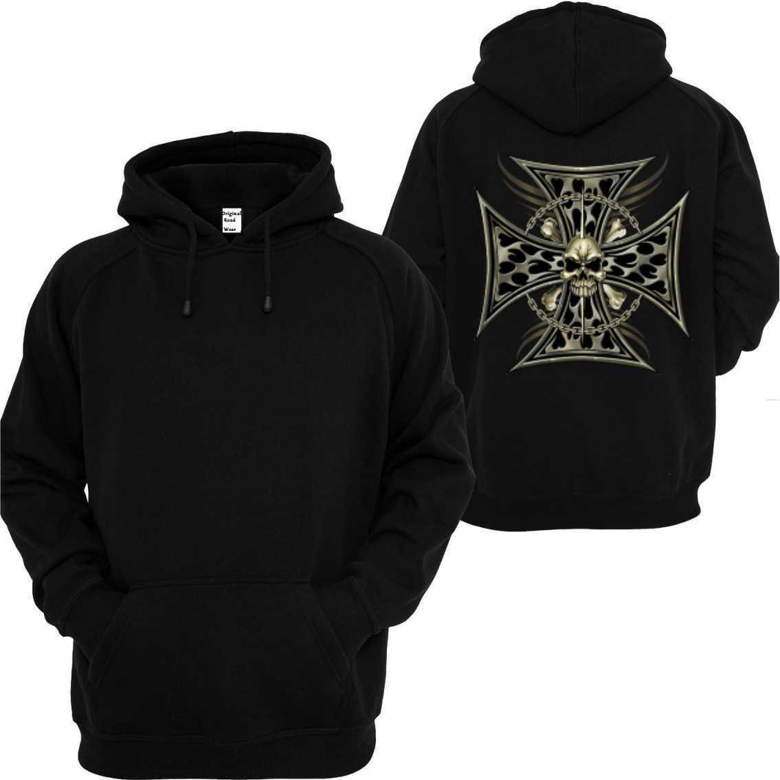 Kapuzensweatshirt black Vintage Gothik Tattoo Oldschoolmotiv Cross Skull Chai