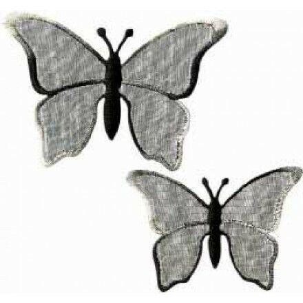 Applikationen Mono Quick  Schmetterlinge Organza schwarz 2 St 12420
