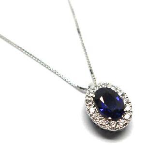 Collier-or-Blanc-750-18K-Fleur-Saphir-0-99-Ovale-Diamants-Chaine-Venitien