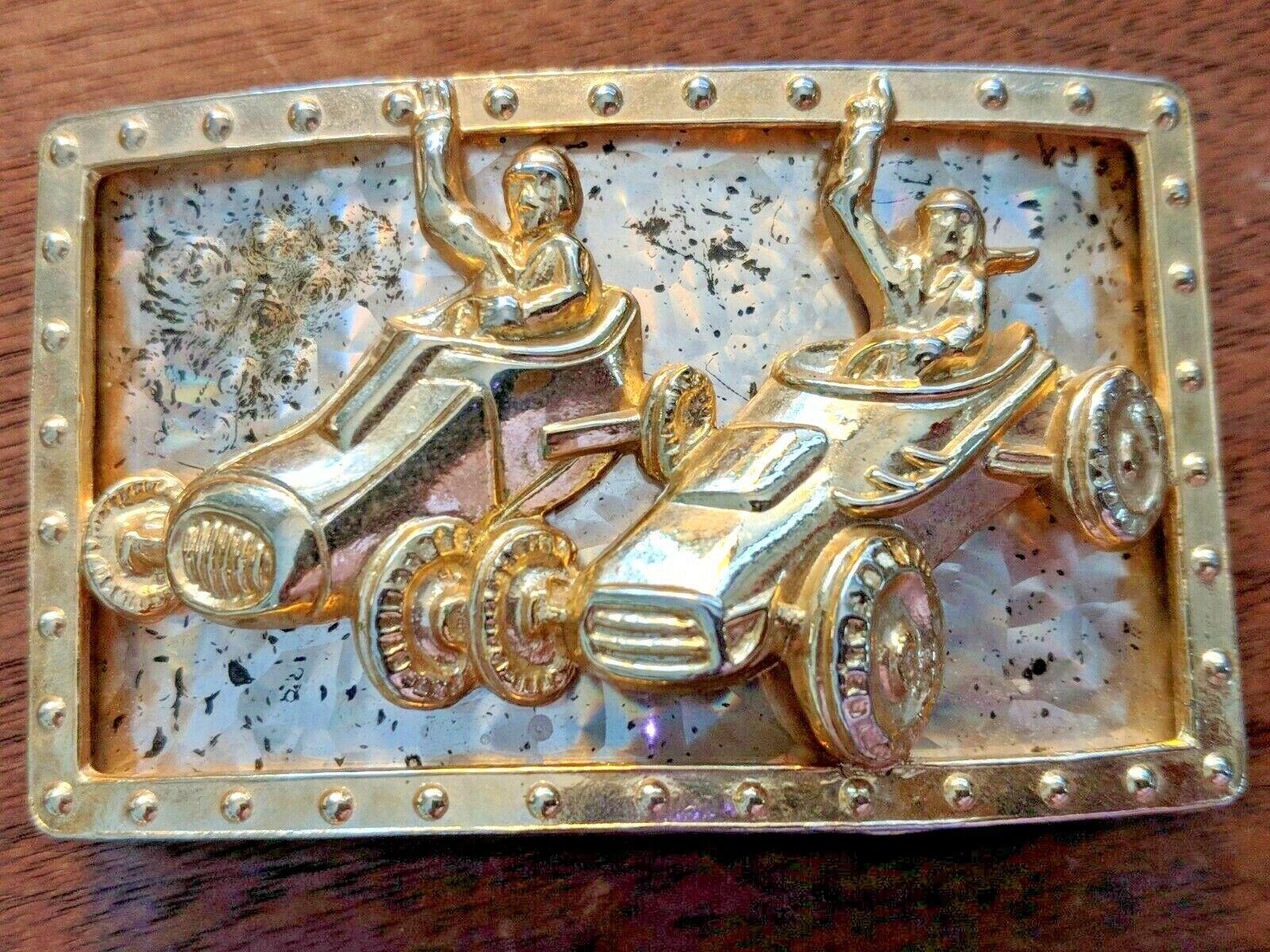 Rare Vintage Patent Pending Gold Tone 3 D Racing Race Cars & Drivers Belt Buckle