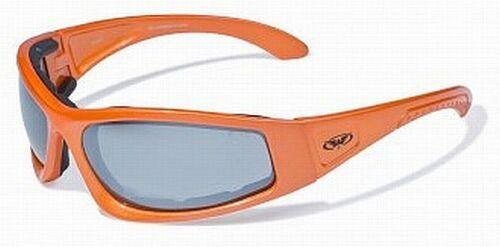 Foam Padded Motorcycle Sunglasses-Shatterproof-Harley Orange Frames *Choice* New