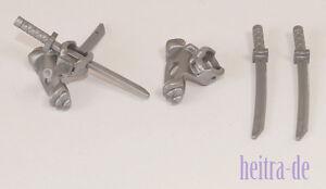 LEGO-Ninjago-2-x-Schulterklappe-Waffenhalter-silber-mit-4-x-Schwert-NEUWARE