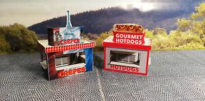 2 Kirmesbuden Hot Dog und Crepes  | Kirmes | Rummel Lasercut Bausatz H0