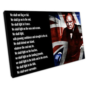 Winston Churchill We shall never surrender quote Canvas Ready to Hang X1543
