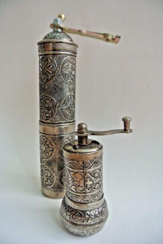 of 2 21cm,10cm Silver Copper Brass Turkish Coffee Pepper Mix Grinder Mill Set