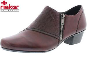 Details zu Rieker Damen Hochfront Pumps Leder Weinrot Trotteur Schuhe 53851 36 NEU Bordeaux