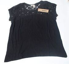 NWT DKNY JEANS WOMENS SHIRT SHORT SLEEVE TOP LACE ACCENT BLACK, SIZE L