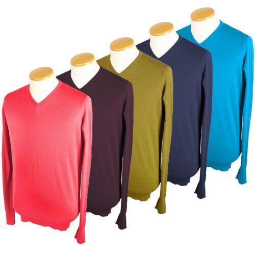 NUOVA linea uomo John Smedley Roe Designer Pullover BELLE Cotone Collo V Maglione Sweater