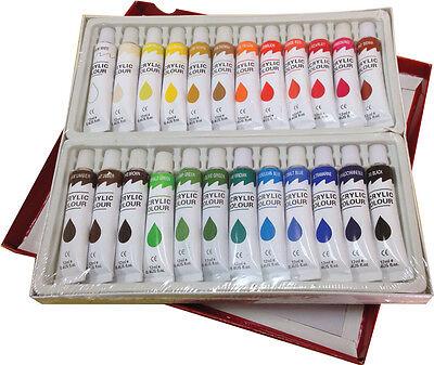 24 PC ACRYLIC PAINT SET Professional Artist Painting Pigment 12ml Tubes