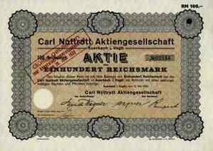Carl Nottrott Ag 1930 Auerbach Vogtland Saxe Haussmann Berlin 100 Reichsmark-afficher Le Titre D'origine