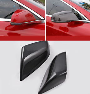 Black Carbon Fiber Side Rearview Mirror Cover Trim For Tesla Model S 2014-2017