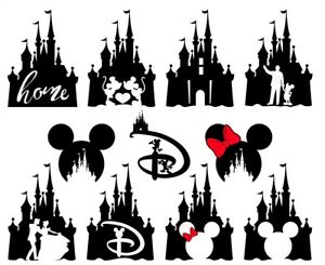 86565019a 11:::: DISNEY CASTLE MICKEY MINNIE MOUSE*** ***FABRIC/T-SHIRT IRON ...