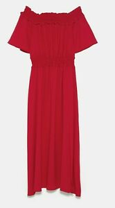 ZARA-WOMAN-NWT-SALE-OFF-THE-SHOULDER-DRESS-RED-SIZE-M-REF-9878-163