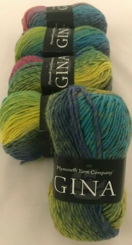 5 Plymouth Yarn GINA Skeins #3 Spring Lime Pink Purple Blue Green Wool DL73845