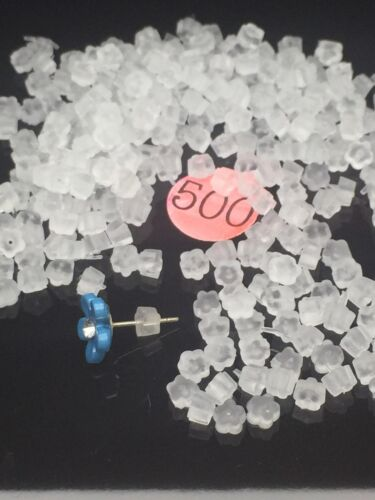NEW 100 500 Clear Plastic FLOWER Earnuts Butterfly Bullets Earring Backs 4mm UK