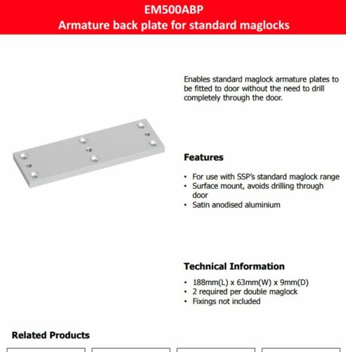EM500ABP Armature Back Plate  for standard maglocks