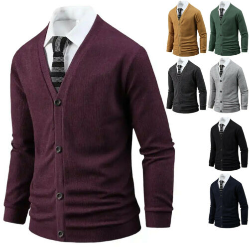 Mens Stylish Tight Embo Pocket Cardigan Jumper Casual Jacket Blazer Top B23 M//L