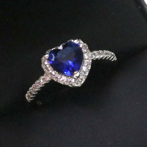 1.5 Ct Heart Blue Sapphire Halo Ring Women Jewelry Gift 14K White Gold Plated