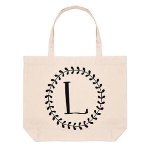Letter-L-Floral-Wreath-Alphabet-Large-Beach-Tote-Bag-Flowers-Shoulder
