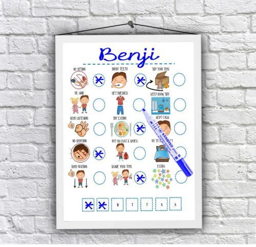 Boys reward chart, behaviour, routine, daily visual aid Autism ADHD Wipeboard