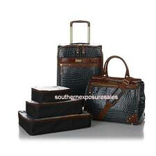 """Samantha Brown 5-pc Classic Luggage Set With 21"""", Dowel & 3 Packing Cubes Black"""