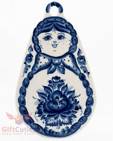 Gzhel Porcelain Cheese Cutting Board Russian Matryoshka Doll Souvenir Handmade