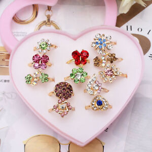 12pcs-Mixed-Assorted-Flower-Gold-Crystal-Adjustable-Rings-Baby-Kids-Girls-Party