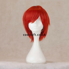 Short layered cosplay wig with fringe in red, UK seller, Prince style