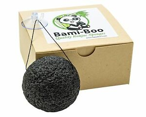 Black-Konjac-Sponge-Activated-Charcoal-Facial-Cleanser-Suction-Cup-Hook-amp-String