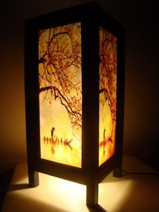 Details about Asian Table Lamp Handmade Bedside Night Light Japanese Sakura  Bedroom Decor Thai
