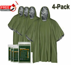 4Pack Reusable Mylar Thermal Blanket Poncho Emergency Survival Rain Camping Gear