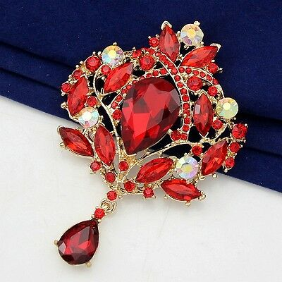 Large 9.5cm Red GoldPlated Crystal Rhinestone Brooch Wedding Bouquet Brooch B006