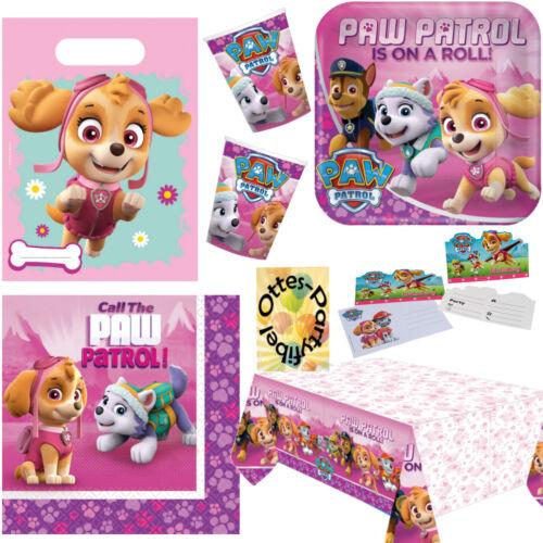 Decke Tüte Einladung Paw Patrol pink Partyset 49tlg 6 Gäste Teller Becher Serv