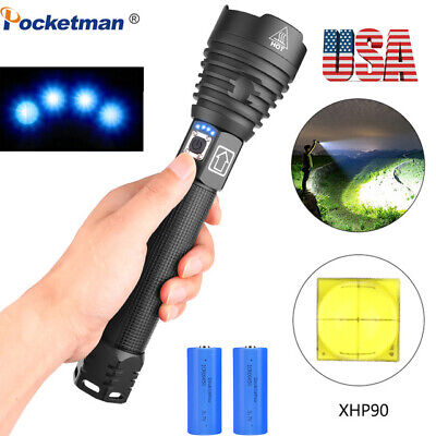 200000lm LED Flashlight XHP70 XHP90 18650 26650 Zoom Torch Lamp USB Rechargeable