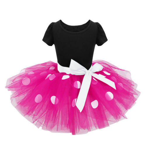 Girls Polka Dots Cartoon Dress Kids Halloween Xmas Costume Tutu Dress+Headband
