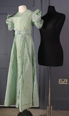 Elegante 1930s Art Deco Ragazze Rayon? Festa/abito Damigella D'onore-vero Vintage-mostra Il Titolo Originale Bianchezza Pura