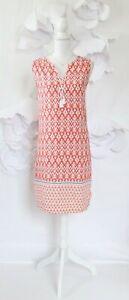 Beach-Lunch-Lounge-Ikat-Shift-Dress-Cover-Up-Women-039-s-M-Orange-Sleeveless-Casual