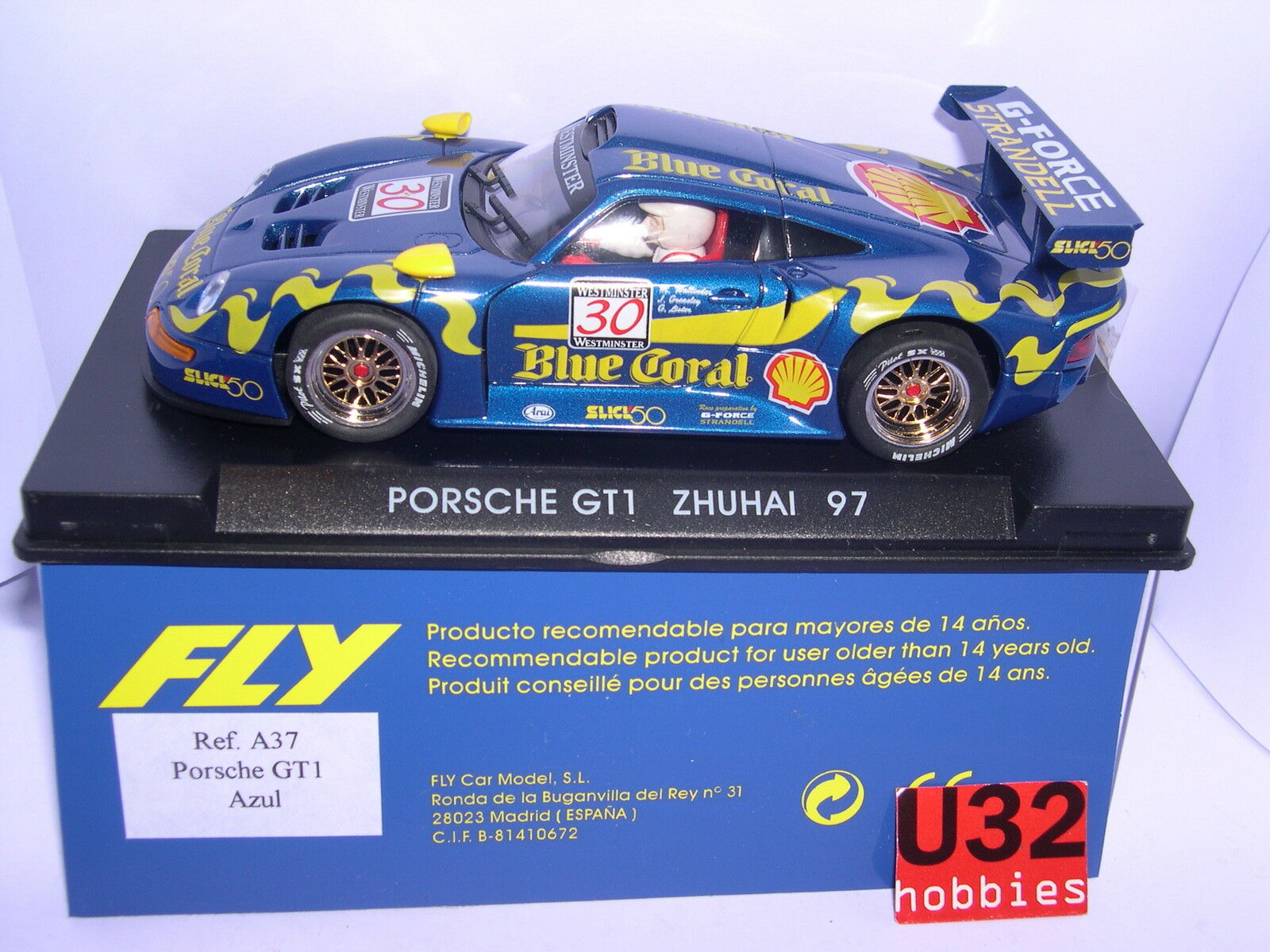 FLY A37 PORSCHE GT1 ZHUHAI 1997 blueE CORAL M.WELLINDER-J.GREALEY-G.LISTER MB
