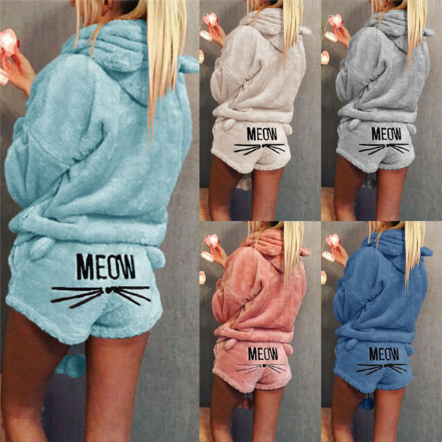Women Solid Color Warm Winter Pajamas Set Two Piece Cute Cat Hoodie Sleepwear EB