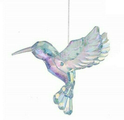 KURT ADLER ACRYLIC MULTIFACETED PINK IRIDESCENT HUMMINGBIRD XMAS ORNAMENT