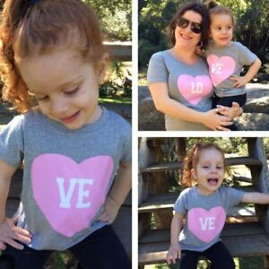 Mother-amp-Daughter-Kids-Girls-Love-Heart-Family-Clothes-T-Shirt-Tee-Tops-Blouse