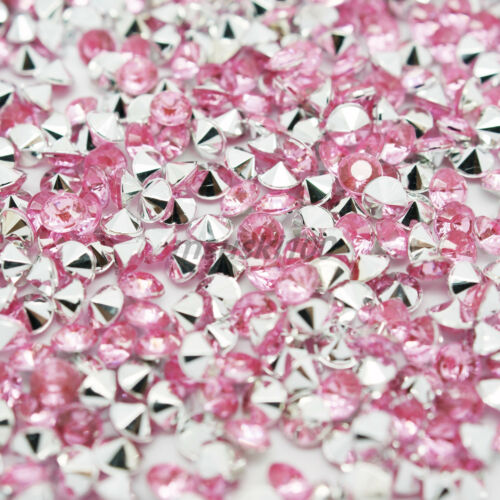 1000 Pointed Back Rhinestone Acrylic Crystal Diamante Silver Tip Gem Craft Bead