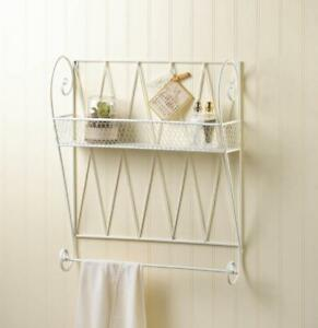 Image Is Loading White Wire Basket Type Wall Shelf With Hanging