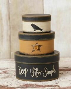 PRIMITIVE-NESTING-BOXES-KEEP-LIFE-SIMPLE-STACKING-CROW-SMALL-5-5-034-H-SET-OF-3