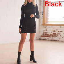 f7c02d262 item 5 Stylish Women High Waist Lace Up Bodycon Suede Pocket Short Mini Pencil  Skirt US -Stylish Women High Waist Lace Up Bodycon Suede Pocket Short Mini  ...